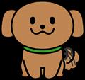 尻尾を振り喜ぶかわいい茶色の犬のイラスト