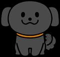 尻尾を振り喜ぶかわいい黒い犬のイラスト