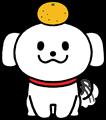 尻尾を振り喜ぶかわいい白い犬鏡餅のイラスト