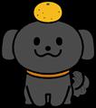 尻尾を振り喜ぶかわいい黒い犬鏡餅のイラスト