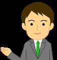 ご案内ポーズのビジネスマン上半身イラスト・爽やかタイプ、緑ネクタイ