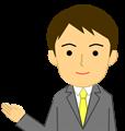 ご案内ポーズのビジネスマン上半身イラスト・爽やかタイプ、黄色ネクタイ