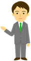 ご案内ポーズのビジネスマン全身イラスト・爽やかタイプ、緑ネクタイ・細線タイプ