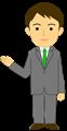 ご案内ポーズのビジネスマン全身イラスト・爽やかタイプ、緑ネクタイ