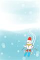 ハガキイラスト・雪だるまのスキー