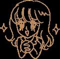 きらきらのギャグ少女漫画風の女の子のイラスト