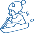 ソリ遊びのクマのイラスト・白黒