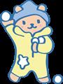 雪玉合戦遊びのクマのイラスト