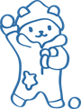 雪玉合戦遊びのクマのイラスト・白黒