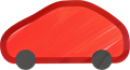 乗用車イラスト・赤のハイブリッド