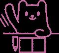 自信たっぷりに挙手しているクマの線画