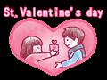 バレンタインのカップルのイラスト