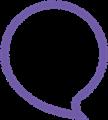 丸型ふきだしイラスト・紫色ゆるいフチ