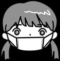 予防マスクの女の子イラスト