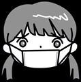 体調悪くマスクの女の子イラスト