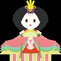雛人形イラスト・畳の上の女雛