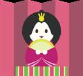 雛人形イラスト・屏風の前のお手玉風女雛