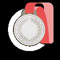 銀メダル、赤首かけリボン