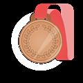 銅メダル、赤首かけリボン