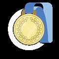 金メダル、青首かけリボン