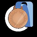 銅メダル、青首かけリボン
