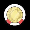 金メダル、赤かざりリボン