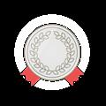 銀メダル、赤飾りリボン