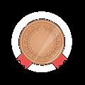 銅メダル、赤かざりリボン