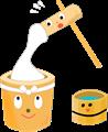 餅つきイラスト・臼、杵、桶が協力して餅をついている様子