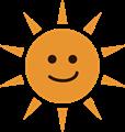 にやり笑顔の夏のギラギラ太陽イラスト