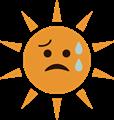 だらだら汗の夏のギラギラ太陽イラスト