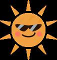 サングラスをした夏のギラギラ太陽イラスト・赤いほっぺ