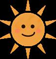 にやり笑顔の夏のギラギラ太陽イラスト・赤いほっぺ