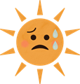 だらだら汗の夏のギラギラ太陽イラスト・赤いほっぺ