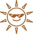 白黒印刷用、夏のギラギラ太陽線画イラスト