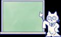白衣の先生猫ちゃん、黒板で説明