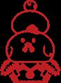 ニワトリ鏡餅イラスト素材・ハンコタイプ
