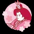リアル雛人形のバストアップイラスト・桃色系