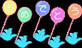 おめでとうメッセージ入り風船と青い鳥イラスト