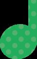 4分音符・緑の音符マークイラスト、水玉模様