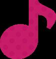 8分音符・ピンクの音符マークイラスト、水玉模様