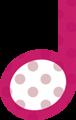 2分音符・ピンクの音符マークイラスト、水玉模様