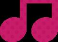 連桁付き8分音符・ピンクの音符マークイラスト、水玉模様