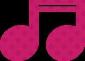 連桁付き16分音符・ピンクの音符マークイラスト、水玉模様