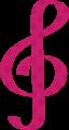 ト音記号・ピンクの音符マークイラスト、水玉模様