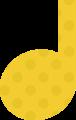 4分音符・黄色の音符マークイラスト、水玉模様