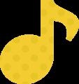 8分音符・黄色の音符マークイラスト、水玉模様