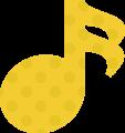 16分音符・黄色の音符マークイラスト、水玉模様