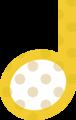 2分音符・黄色音符マークイラスト、水玉模様