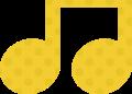 連桁付き8分音符・黄色音符マークイラスト、水玉模様